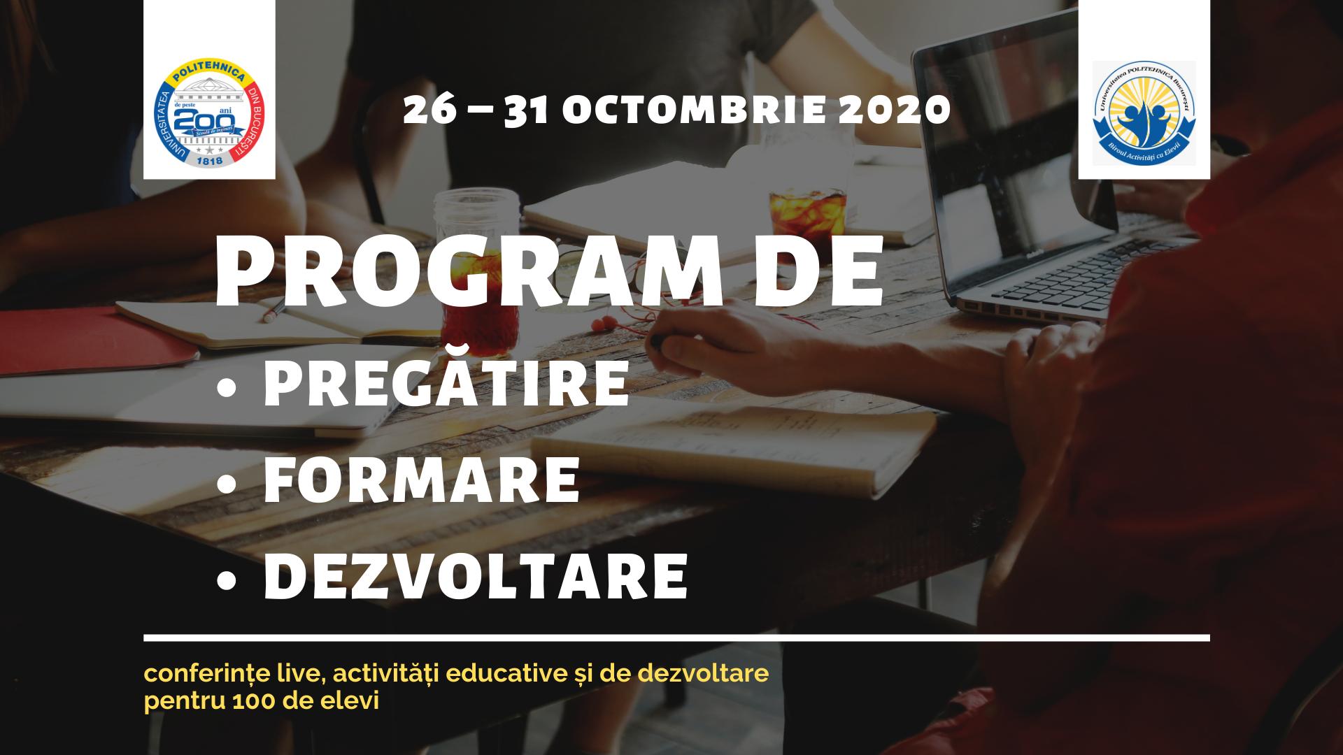 PROGRAM DE PREGĂTIRE/FORMARE/DEZVOLTARE