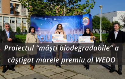 """Universitatea POLITEHNICA din București dezvoltă noi proiecte inovative  Proiectul """"măști biodegradabile"""" a câștigat marele premiu al WEDO"""